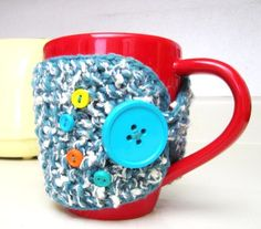 Buttoned Cup Cozy Tea Mug Sleeve by OurSunshine on Etsy, $16.99