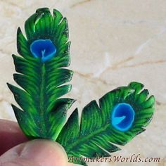 NEW! Full length green peacock feather polymer clay cane