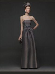Brown Column Strapless Satin 2014 Prom Dress