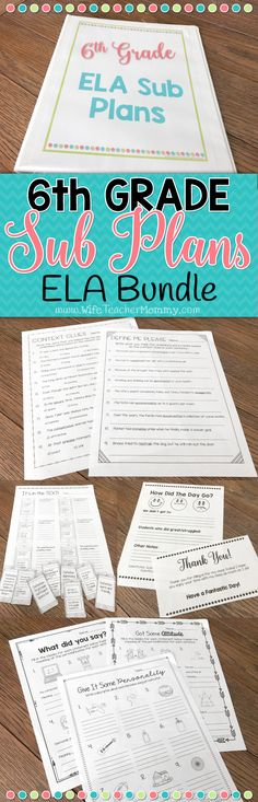 These 6th grade substitute plans include all of the LANGUAGE ARTS lessons from my popular Ready To Go Sub Plans! Now middle school and departmentalized 6th grade ELA teachers can enjoy these sub plans, too. No more stressing out when you need to have a sub last minute! All you need to do is check some boxes, and you're good to go. These are perfect for emergency sub plans for sixth grade.