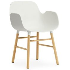 Normann Copenhagen Form Armchair ($340) ❤ liked on Polyvore featuring home, furniture, chairs, accent chairs, white, danish furniture, white armchair, white arm chair, colored chairs and normann copenhagen