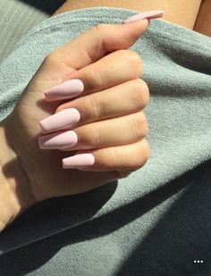 Pastel pink coffin nails