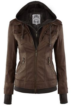 LL Womens Hooded Faux leather Jacket ✮✮✮✮  778 customer reviews. Color: WJC664_COFFEE/ASH_BROWN  100% POLYURETHANE (shell) 100% POLYESTER(lining) Exposed zipper details Fully lined Medium weight HAND WASH COLD / HANG TO DRY / DO NOT IRON / DO NOT DRY CLEAN. https://twitter.com/TheMarketer2015/status/644553807125417985