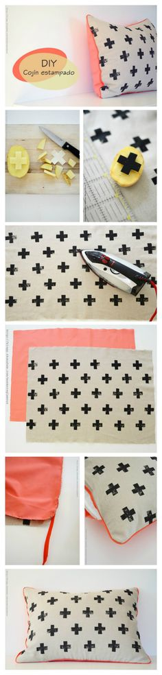 print man selv kan lave på tekstil her en pude med små krydser lavet af kartoffeltryk