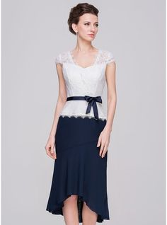 Sheath Column Sweetheart Asymmetrical Chiffon Lace Mother of the Bride  Dress With Bow(s) 231028bca2