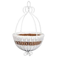 Round Resin Wicker Hanging Basket with Metal Hanger Size-Color - 14W x 14D x 24H inches - White by DMC. $49.99. Choice of stylish colors. Elegant metal hanger with curling details. Made of durable, weather-resistant resin wicker. Coco fiber liner for healthy drainage. Ideal for outdoor use. The graceful curls of this planter will create a perfect complement to spreading blooms. The Resin Wicker Hanging Basket with Metal Hanger features a woven resin basket and an elegant m...