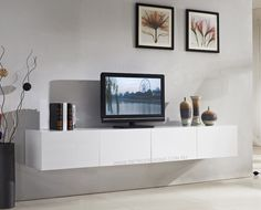 Style your Home with Floating Cabinets Living Room: Majeston White Floating TV Cabinet