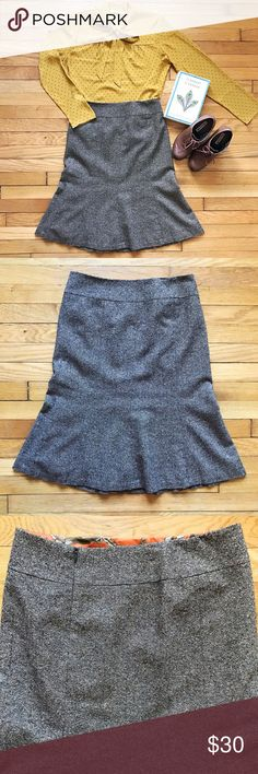 """Talbots Wool Blend Pencil Skirt Brown tweed pencil skirt, slightly fluted style. Back zipper, fully lined. Skirt is mix of wool, silk, acrylic, & nylon with polyester lining. Flat waist measurement is 15"""", length is 25"""". EUC. Talbots Skirts Pencil"""