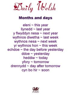 Daily Welsh: Months and Days Welsh Phrases, Welsh Sayings, Welsh Words, Welsh Translation, Welsh Tattoo, Learn Welsh, Basic French Words, Welsh Language, Family Tree Research