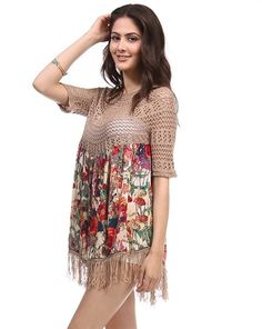 """Stunning Bohemian floral printed top features an intricate crochet pattern and fringe hem. Mood: Wine Fest, Brunch, Casual Fabric: 55%Ramie 45%Cotton (Unlined) -Length Approx 33"""" (XS) In Khaki Color"""