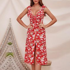 Floral Print Sleeveless Bohemian Beach Dress Elegant Lace Bow Split Midi Dress    AU$22.00 Material: Cotton Style: beach style Pattern Type: Print Sleeve length (cm): sleeveless Decoration: hollowed out Dress length: knee length Waist circumference: nature Neckline: V-nec   Cm	Bust	Waist	Length S	88	66	111 M	92	70	112 L	98	76	113 XL	106	82	114 inch	Bust	Waist	Length S	36.7	26	43.7 M	36.2	27.6	44.2 L	38.6	29.9	44.5 XL	41.8	32.3	44.9 Midi Dress Outfit, Boho Midi Dress, Dress Outfits, Bohemian Beach, Lace Bows, Cotton Style, One Piece Swimwear, Elegant Dresses, Pattern Fashion
