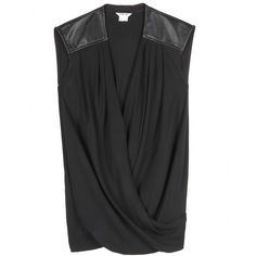 mytheresa.com - LEATHER-TRIMMED CREPE TOP - Luxury Fashion for Women / Designer clothing, shoes, bags