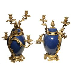 Pair of French Porcelain and Bronze Louis XV Style Candelabras