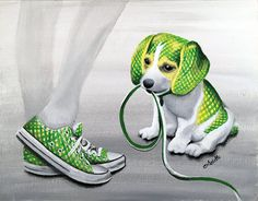 LIME-ON-AID Print of Original Painting Beagle by ArielleArtwork