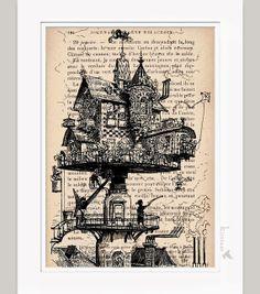 Steampunk Nursery Decor   Steampunk Print Steampunk Building vintage dictionary print - upcycled ...