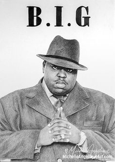The Notorious B.I.G. Graphite on A3.  Drawings by Michelle Angelique   Art