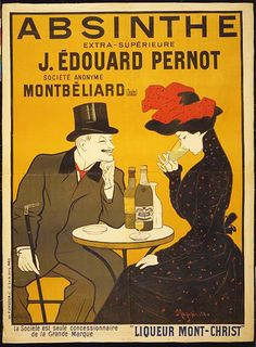 printables, advertising, french poster, vintage, vintage posters, free download, graphic design, retro prints, classic posters, Absinthe, J. Edouard Pernot, Liqueur Mont-Christ - Vintage Alcohol Advertising French Poster