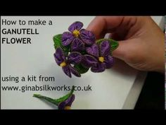 How to Make Ganutell Flowers using the Violet Flower kit from Gina-B Silkworks Flower Crafts, Diy Flowers, Beaded Flowers, Flower Diy, Jewelry Making Tutorials, Craft Tutorials, Jewellery Making, Textiles, Thread Jewellery