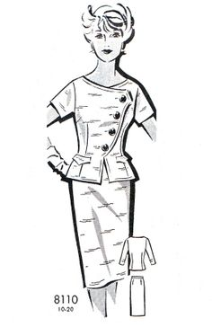 1960s Dress Pattern Two Piece Day or Evening Dress Sheath Skirt and Fitted Peplum Overblouse Mail Order Vintage Sewing Pattern Bust 40 on Etsy, $20.00