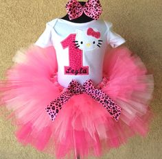 Pink Leopard Hello Kitty Birthday Tutu Outfit