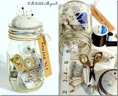 DIY anthropologie mason jar sewing kit