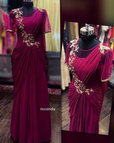 Very intricate hand work draped sareegown Saree Gown, Lehnga Dress, Sari, Indian Wedding Gowns, Indian Gowns Dresses, Indian Weddings, Drape Gowns, Draped Dress, Drape Sarees