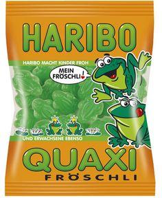 Haribo Quaxi-fröschli .. des grenouilles en pagaille ! Bonbons gélifiés en forme de grenouilles d'Haribo au gout de fruits et de plantes vertes.