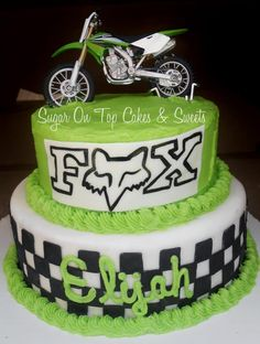 Dirtbike and FOX cake by Sugar On Top Cakes   facebook.com/SugarOnTopCakes