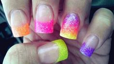 love the orange and pink and yellow neon all on one tip then faded super cute
