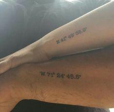 Couple tattoos. ..GPS coordinate if location where we met #coupletattoo #rirairishpub