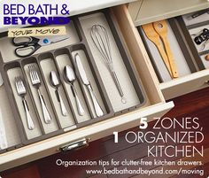 Getting your new kitchen organized has never  been easier, thanks to this genius organization  hack. Create zones for the five primary  kitchen tasks – food prep, cooking and  baking, storage, tableware and cleaning –  and you'll have a clutter-free space in no time.
