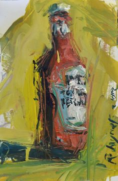 Mixed media ketchup bottle still life painting that depicts a bottle of Heinz ketchup that's created is an ...