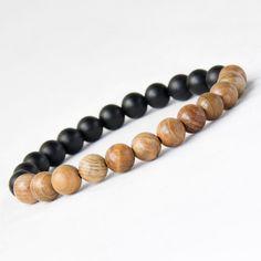 New Men Natural Wood Beads Bracelets Black Matte Agate Meditation Prayer Bead Bracelet Women Wooden Jewelry,Yoga Jewelry