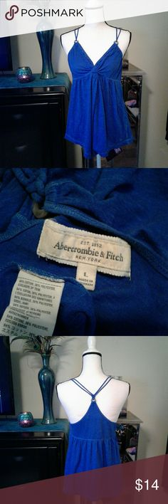 """Abercrombie & Fitch top Women's like new blue Abercrombie & Fitch tank top. Criss cross v neck chest with double straps connected by pretty gray rings. Size large. Measurements Chest 15"""" length 23"""". Thanks for looking Bundle to save!! Abercrombie & Fitch Tops Tank Tops"""