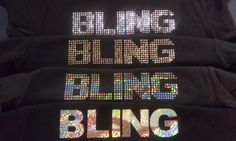 This is four different shirts.  All the same design.  The top is clear rhinestones, the second is silver rhinestuds, the third is circles cut from silver sparkle vinyl and the fourth is a solid letter in silver sparkle vinyl.  The options are LIMITLESS when you come to us for design.  shell@sparklesbyshell.com  724-310-3990