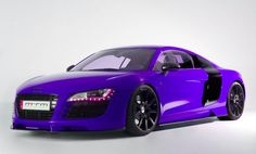 Purple Audi R8 with Magenta Headlights and Black Rims