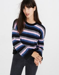4458d555d6124d Madewell Cardiff Striped Crewneck Sweater in Coziest Yarn