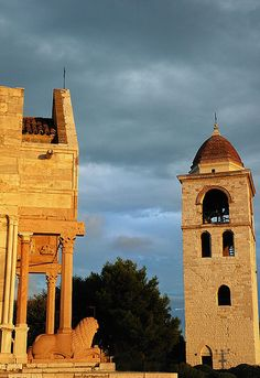 Ancona Cathedral and bell tower at sunset - Ancona, Marche, Italy