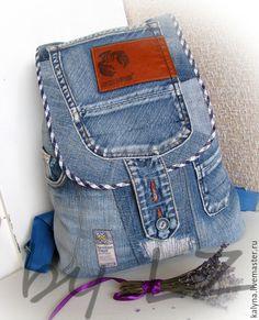 Купить Джинсовый рюкзак ДЕНИМ13 - синий, джинсовый рюкзак, ручная работа, пэчворк, подарок