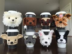 Okay, so this lady is so creative! HookedbyAngelon Facebook makes these amazing little coffee cup cozies. She says:  Crochet dog cozies designed to resemble different dog breeds. If you would like me to try a specific breed, leave me a comment on my Facebook page. Post a picture of your dog too! I may choose it as a model and recreate it's likeness in yarn.  Love this idea! So cute!