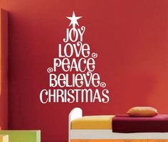 Christmas Tree Xma Love Peace Wall Art Decal Removable Quote Inspiration Sticker //ebay shop:http://stores.ebay.com/leyintzonline //website:http://ws.metoshop.com