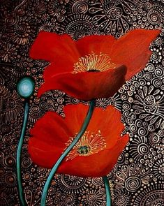 by Cherie Roe Dirksen Art Floral, Mandala Art, Acrylic Flowers, Art Et Illustration, Abstract Watercolor, Mosaic Art, Flower Art, Art Projects, Poppies