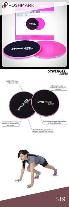 """Synergee Slider (pink) 🌀BRAND NEW IN BOX 🌀Get a total body workout. 🌀These workout sliding discs are double sided for versatility and work on both carpet and hard floors. The smooth side of the Synergee Core Sliders are for carpeted areas and the fabric side of the workout sliding discs are for hard floors. 🌀From lunges and squats to upper-body exercises, users can target specific muscle groups and tone their entire body with easy use. 🌀These workout sliding discs come in a 7"""" diameter…"""