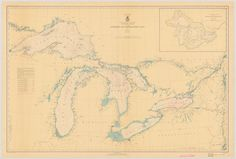 A beautiful, high quality print of the historical map of The Great Lakes from 1938. We take great care to ensure that the best materials, packaging and service
