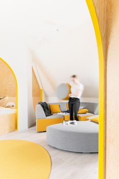 Van Staeyen Interieur Architecten has converted a dark and dusty attic in Antwerp into a living space that features arched portals, curvy furniture and yellow decor accents. Interior Paint Colors, Paint Colors For Home, Interior Design, Interior Painting, Interior Ideas, Living Room Paint, Living Room Interior, Circular Couch, Sleeping Nook