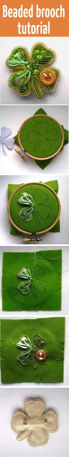 Beaded Brooch Tutorial — Shamrock (Clover) Leaf for St. Beading Projects, Beading Tutorials, Beading Patterns, Beaded Brooch, Beaded Jewelry, Handmade Jewelry, Jewellery, Bead Crafts, Jewelry Crafts