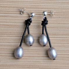 Gray Pearl and Leather Earrings/Freshwater Pearl Earring/Pearl Earrings/Bridal/Oval Pearls/Leather Dangle Earrings/Sterling Silver Posts by BonafideBeads on Etsy