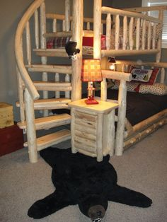 boys western room THis is so cool my kids would love it! Perfect for my lil Cowboy Bunk Beds With Stairs, Cool Bunk Beds, Kid Beds, Woman Bedroom, Kids Bedroom, Rustic Bunk Beds, Cool Beds For Kids, Western Rooms, Log Furniture