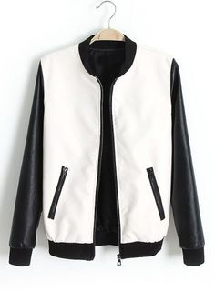 White Contrast Long Sleeve Pockets PU Jacket pictures