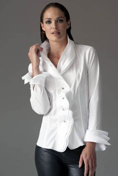 Isabella White Shirt by The Shirt Company, the perfect gift for Explore more unique gifts in our curated marketplace. White Shirt Outfits, Casual Fall Outfits, Dressy White Blouses, Elle Moda, Frill Shirt, Conceptual Fashion, White Shirts Women, Elegant Outfit, White Tops